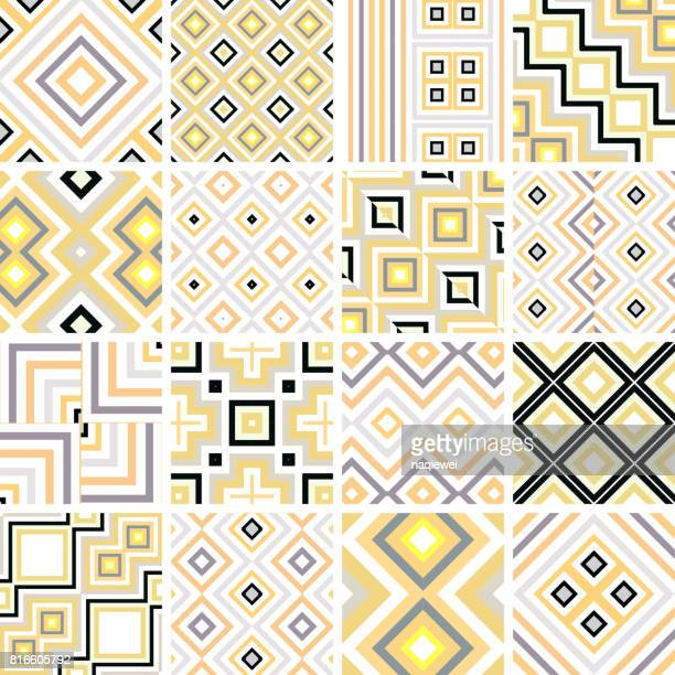 seamless pattern collection - zigzag stock illustrations, clip art, cartoons, & icons