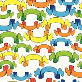 seamless pattern colored ribbon banners