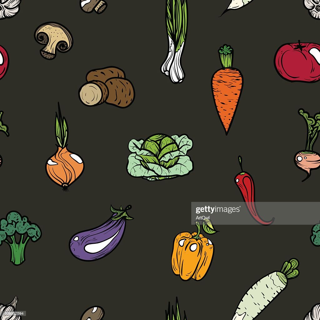 Seamless pattern colored vegetables.