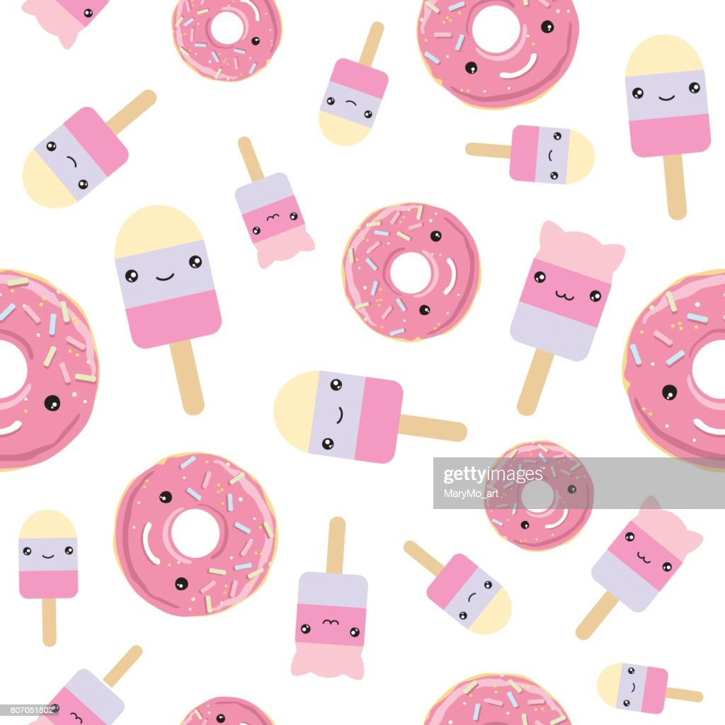 Seamless pattern. cute kawaii styled ice cream and pink glazed donuts.