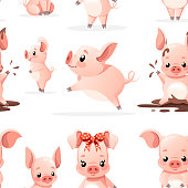 Seamless pattern. Cute pig collection. Cartoon character design. Little pigs in different poses. Clean and mud. Flat vector illustration on white background