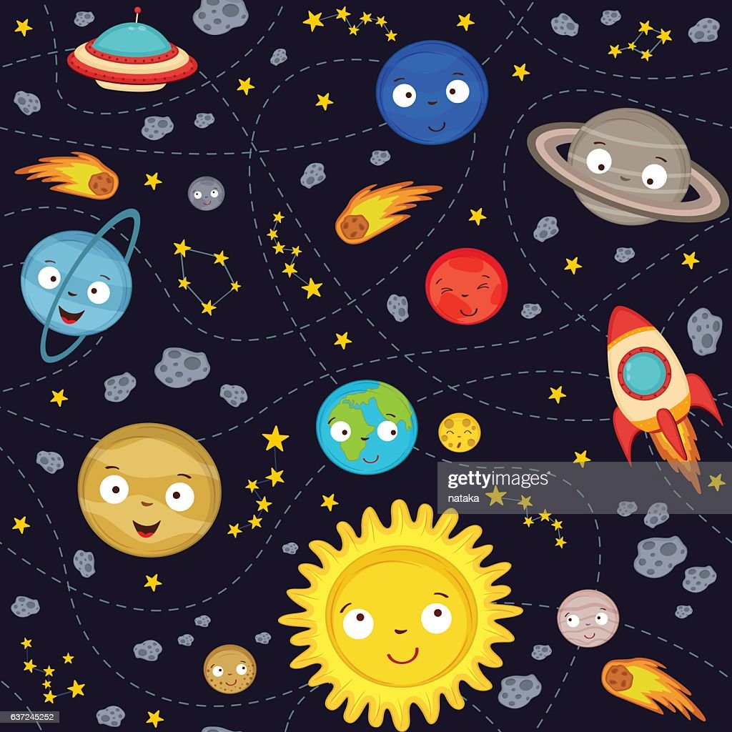 seamless pattern cute solar system