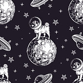 A seamless pattern depicting a pug in a cosmic helmet, planets, stars and flying saucers