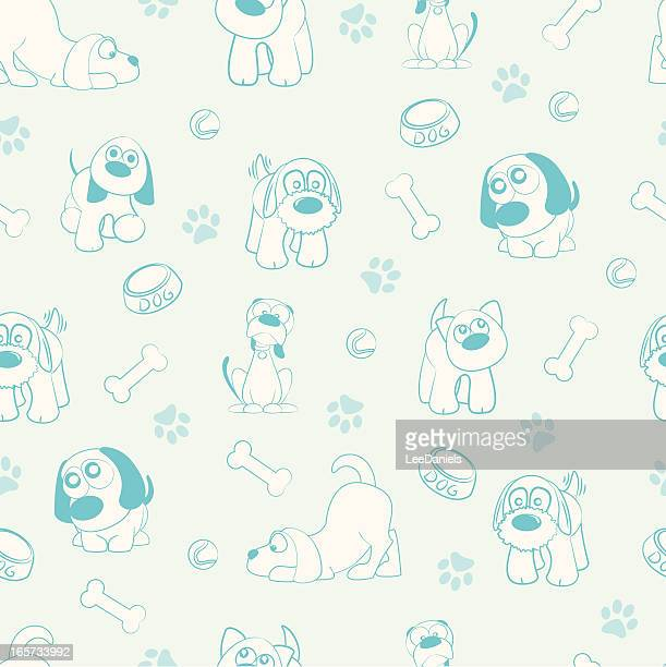 seamless pattern - dogs! - dog bowl stock illustrations, clip art, cartoons, & icons
