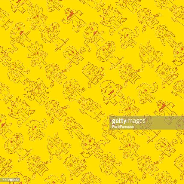 Seamless Pattern Doodle Characters