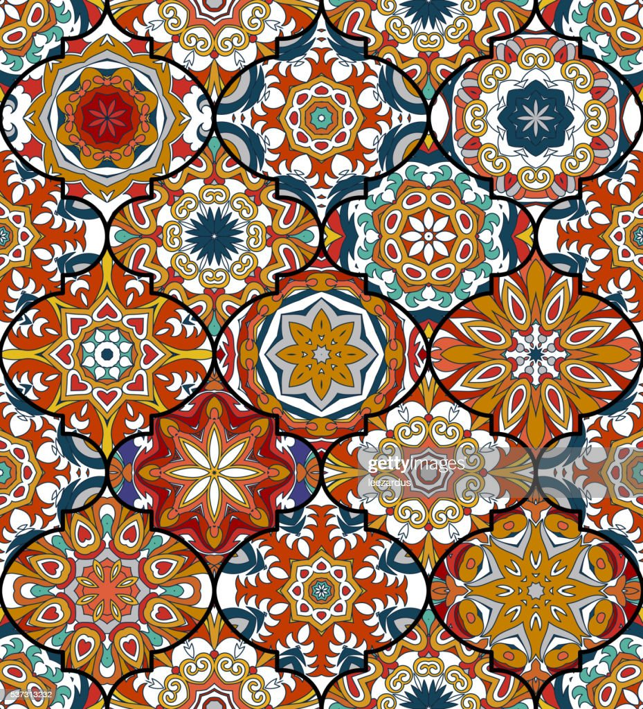 Seamless pattern. Eastern decorative elements. Hand drawn background.