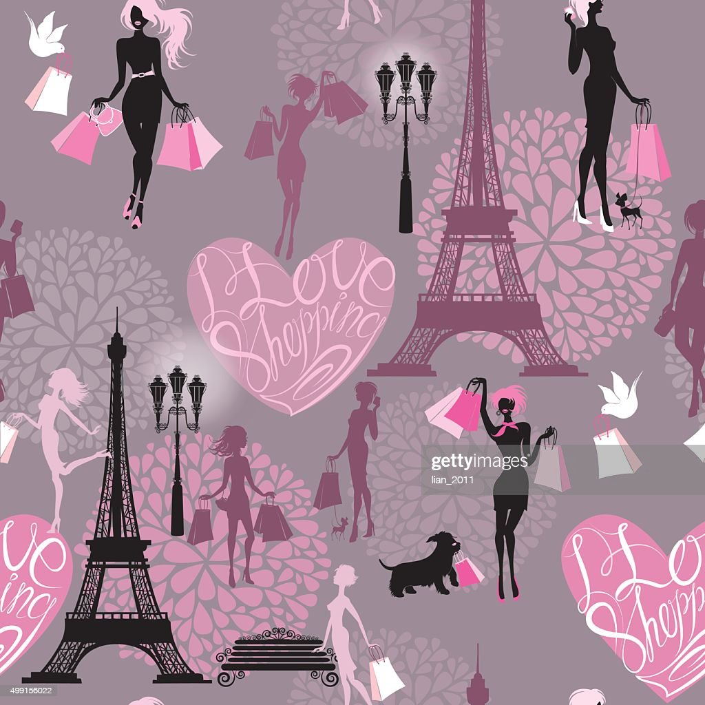 Seamless pattern - Effel Tower, hearts and girls