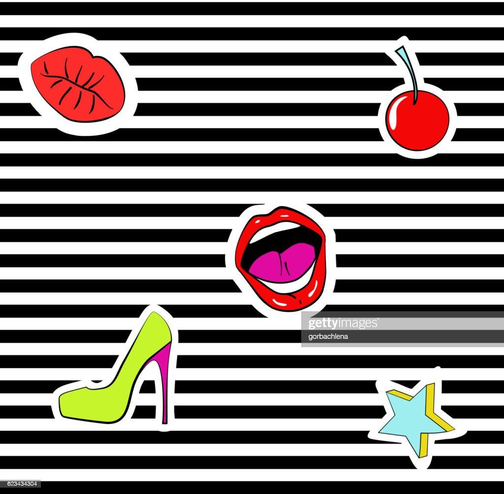Seamless pattern fashion patch badges. lips, kiss, mouth, star. stripes.