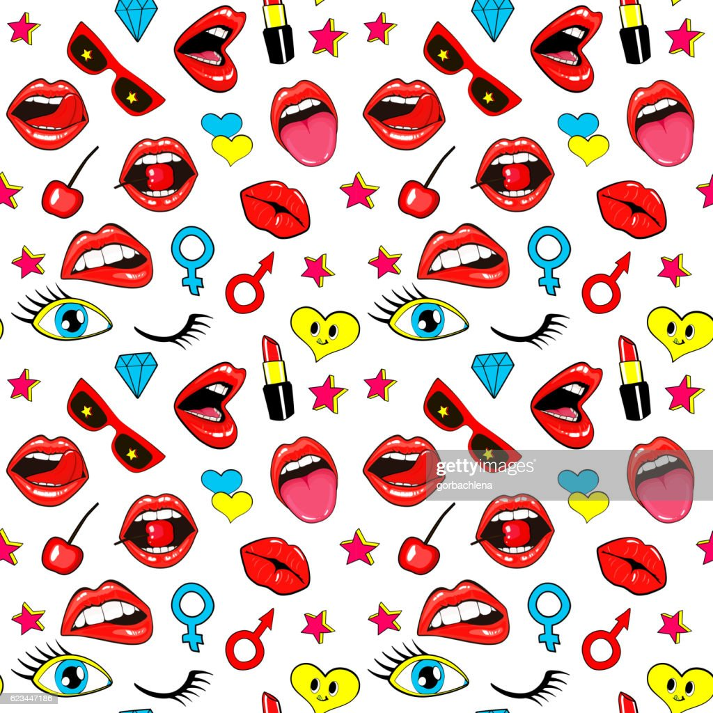 Seamless pattern fashion patch badges lips, kissing, mouth, tongue, stars.