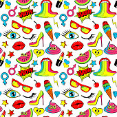 Seamless pattern fashion patch lips, kiss, heart, star, ice cream,