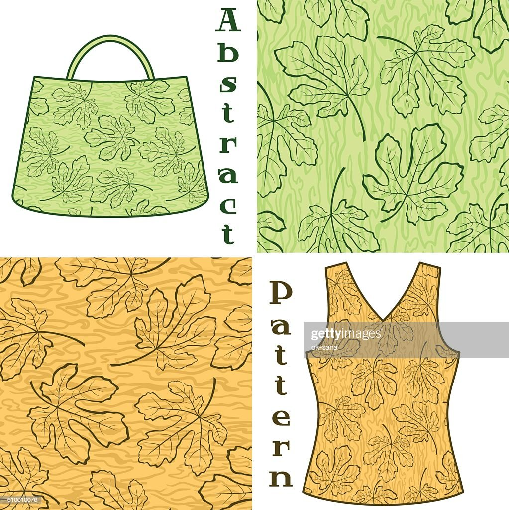 Seamless Pattern, Fig Tree Leaves Contours