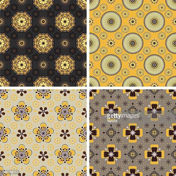 seamless pattern - floral - medallion stock illustrations, clip art, cartoons, & icons