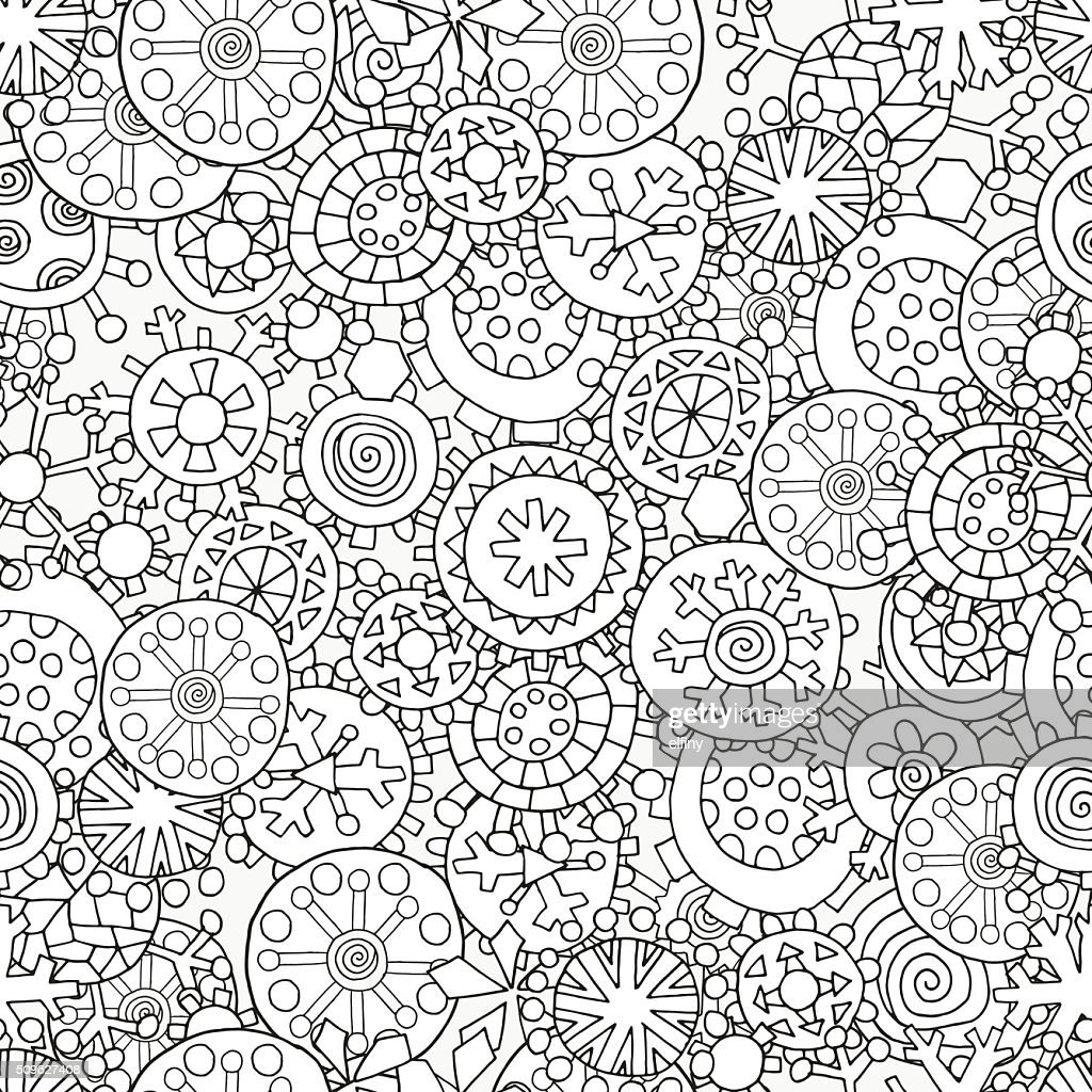 Seamless pattern for coloring book. Christmas winter snowflakes.