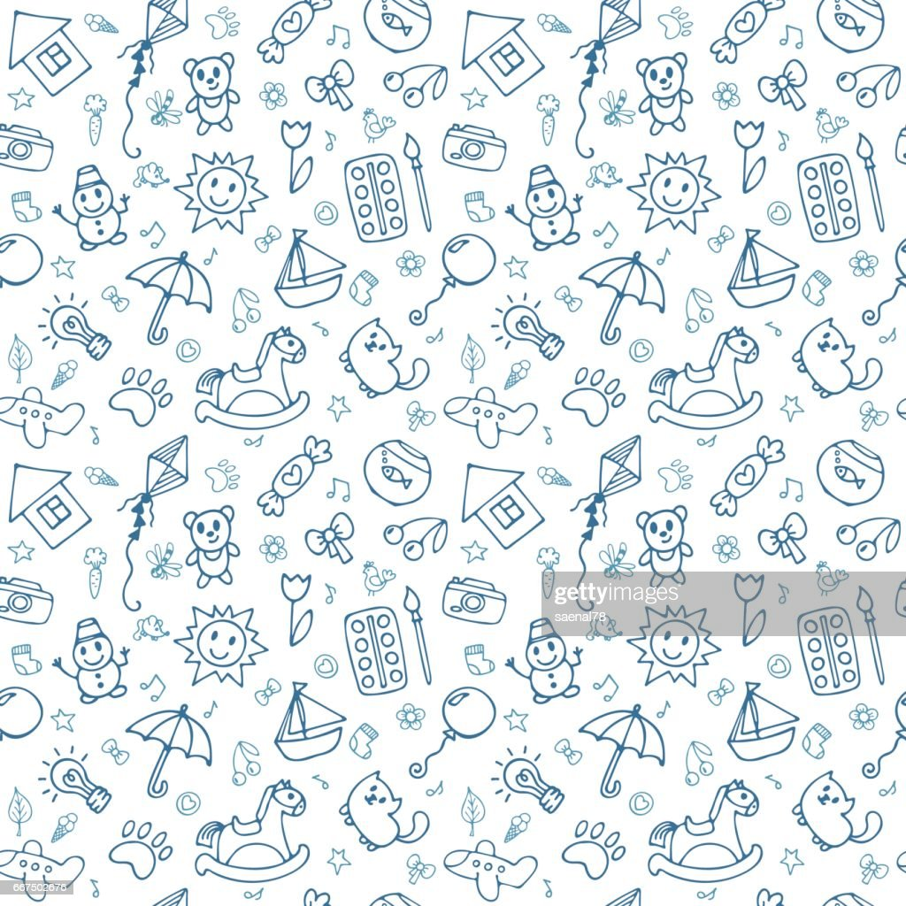 Seamless pattern for cute little boys and girls. Sketch style. Hand drawn children drawings. Doodle children drawing background