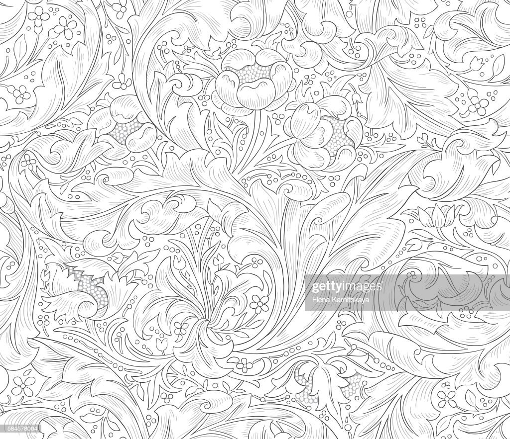 Seamless pattern for printing on fabric, paper, web design, packaging.