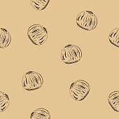 Seamless pattern from hazelnuts.