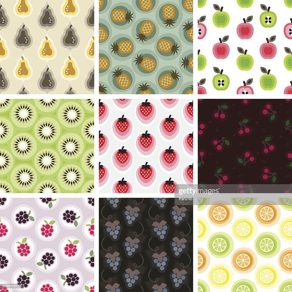 Sem costura padrão-Frutas : Ilustração
