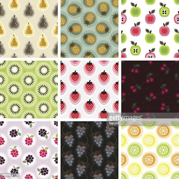 seamless pattern - fruits - apple fruit stock illustrations