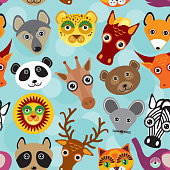 Seamless pattern funny cute animal face on a blue background.