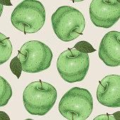 Seamless Pattern. Green Apples