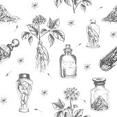 Seamless pattern hand drawn of ginseng roots, lives and flowers in black color isolated on white background. Retro vintage graphic design Botanical sketch drawing, engraving style