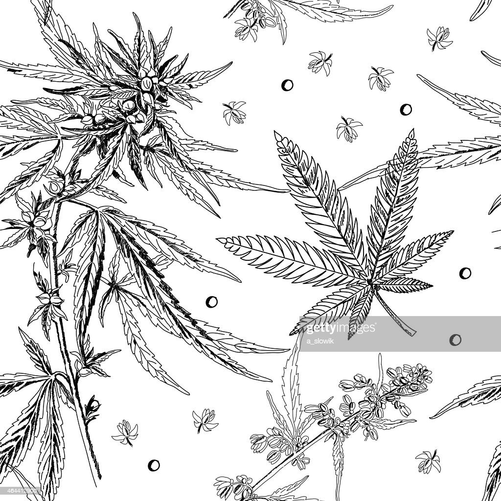Seamless pattern, hemp, marijuana, black and white