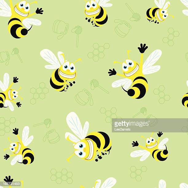 seamless pattern - honey bees! - bumblebee stock illustrations, clip art, cartoons, & icons