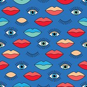 Seamless pattern in 80s style with eyes and lips