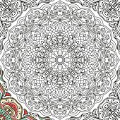 Seamless pattern in doodle style with floral mandala Coloring book page