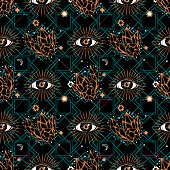 Seamless pattern in medieval celestial style with eye and crystals. Bohemian, gypsy motifs.