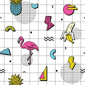 Seamless pattern in retro funky style
