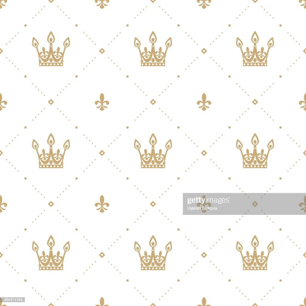 Seamless pattern in retro style with a gold crown on a white background. Can be used for wallpaper, pattern fills, web page background, surface textures. Vector Illustration.