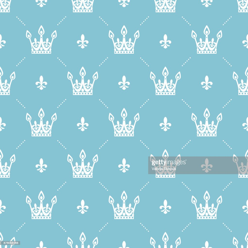 Seamless pattern in retro style with a white crown on a turquoise background. Can be used for wallpaper, pattern fills, web page background,surface textures. Vector Illustration.