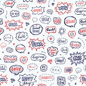 Seamless pattern in school style. Hand drawn set of speech bubbles with words. Vector illustration over squared notebook sheet