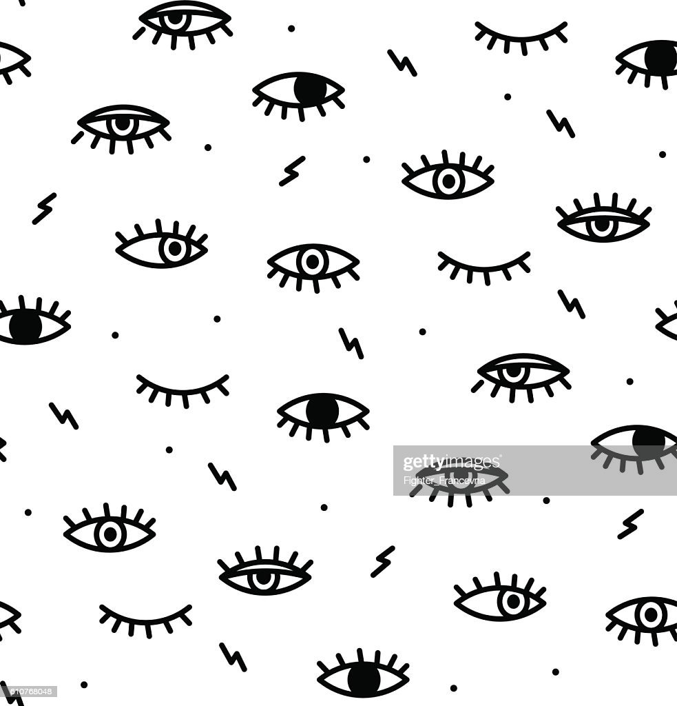 Seamless pattern in the style of psychedelic eyes.