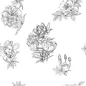 Seamless pattern in vintage style with small bouquets of flowers