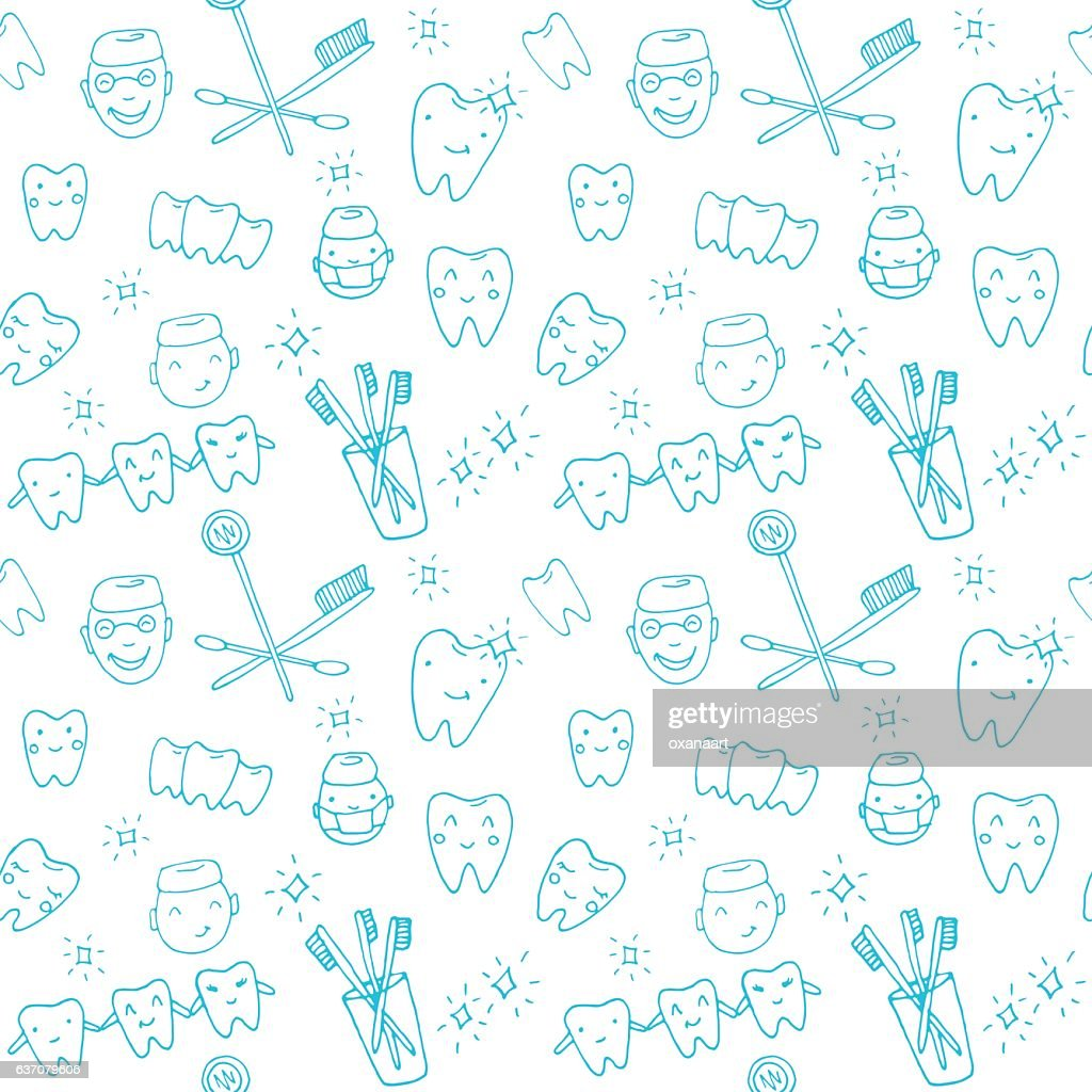 Seamless pattern kawaii dentist with teeth, toothbrush, smile, dental tools