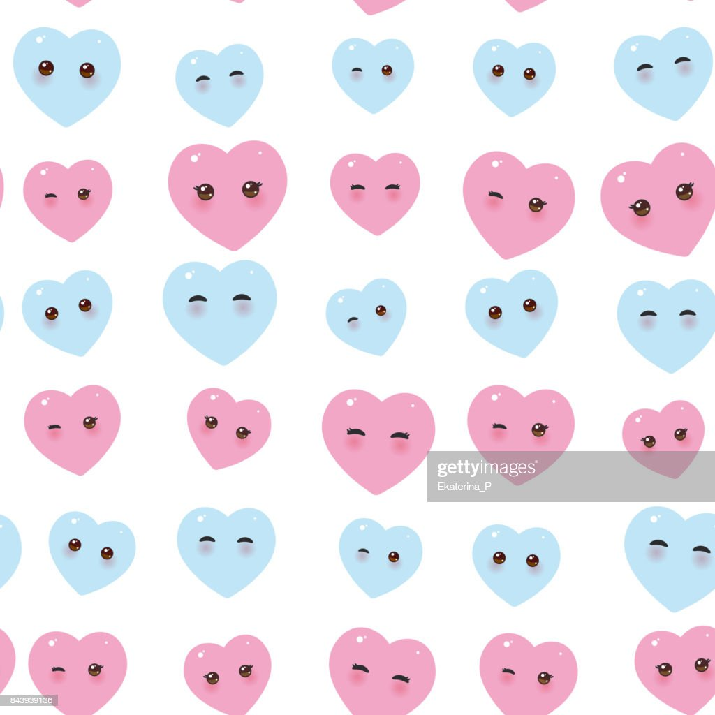 seamless pattern - Kawaii funny pink blue hearts with pink cheeks and winking eyes on white background. Vector