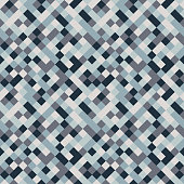 Seamless pattern made of colorful squares in shades of blue and grey rotated by 90 degrees