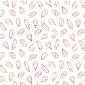 Seamless pattern made of crystals and stones, gems