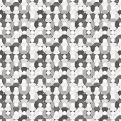 Seamless pattern made of round shapes in different shades of grey (monochrome)