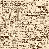 seamless pattern, manuscript with occult symbols