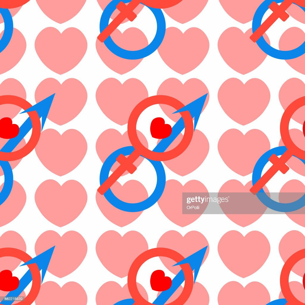 Seamless Pattern Mars And Venus Astrological Symbols Of Love Vector