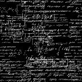 Seamless pattern, mathematical operations and elementary functions, endless arithmetic black background. Real handwritten solutions. Geometry, math, physics, electronic engineering subjects. Lectures.