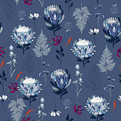 Seamless Pattern monotone blue protea flowers,  Isolated on  bluecolor. Botanical Floral Decoration Texture.