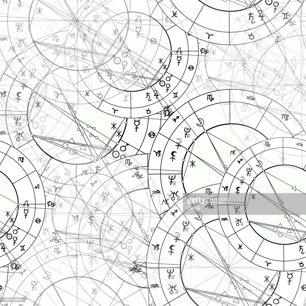 Seamless Pattern Natal Astrological Chart Zodiac Signs Vector