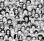 Seamless pattern of a crowd of people, hand drawn