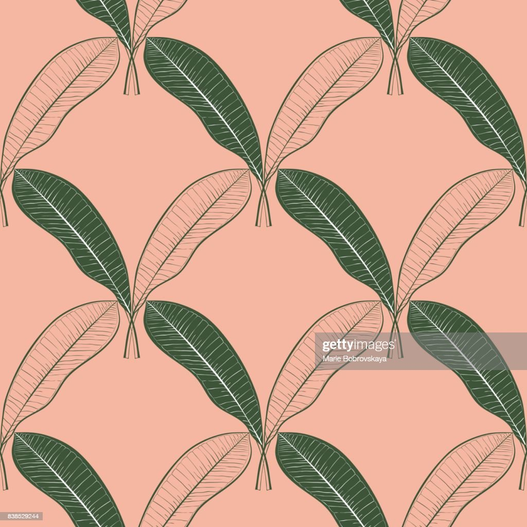 Seamless pattern of a lot of mango leaves isolated on peach background. Hand drawn vector line art. Summer design.