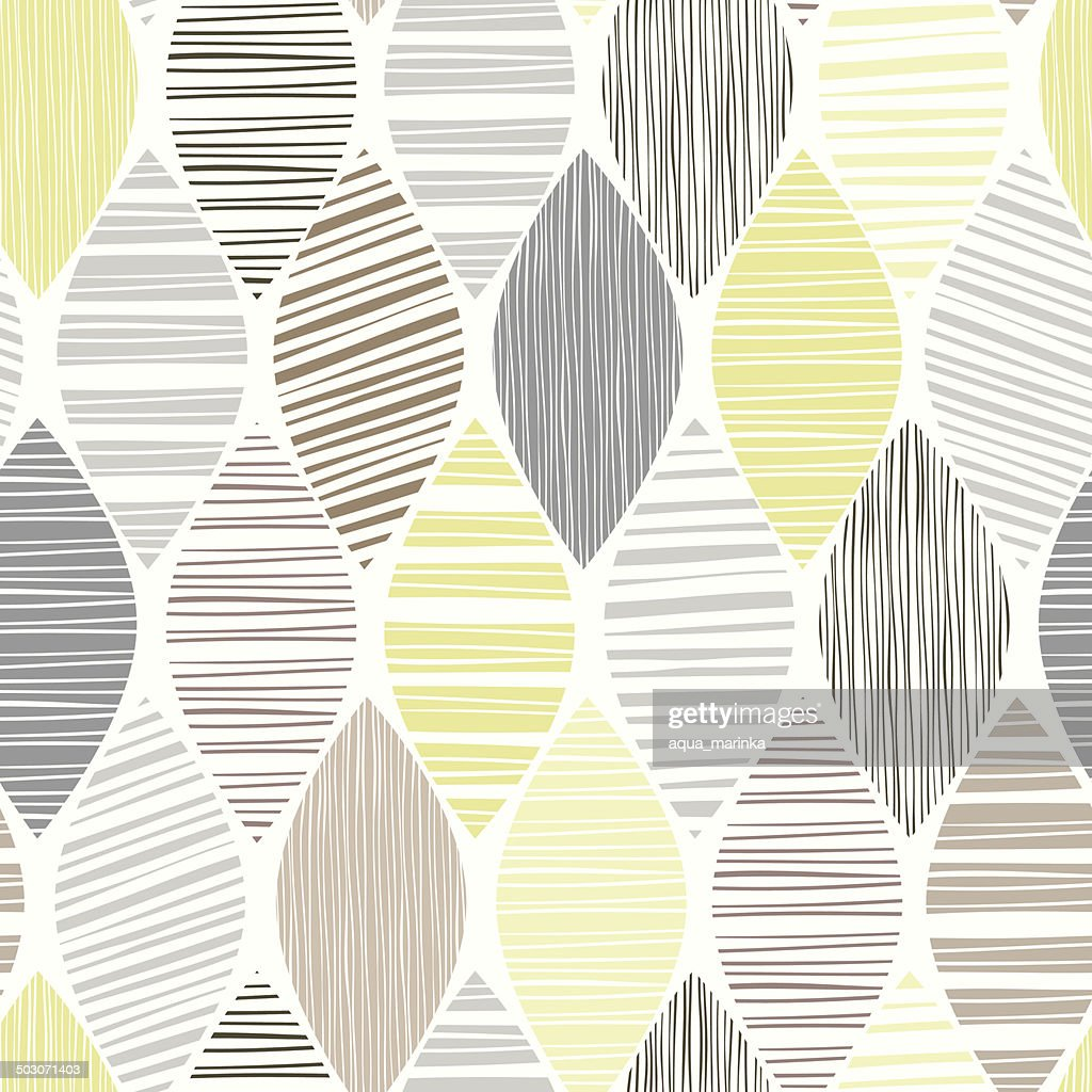 Seamless pattern of abstract striped leaves on a white background.