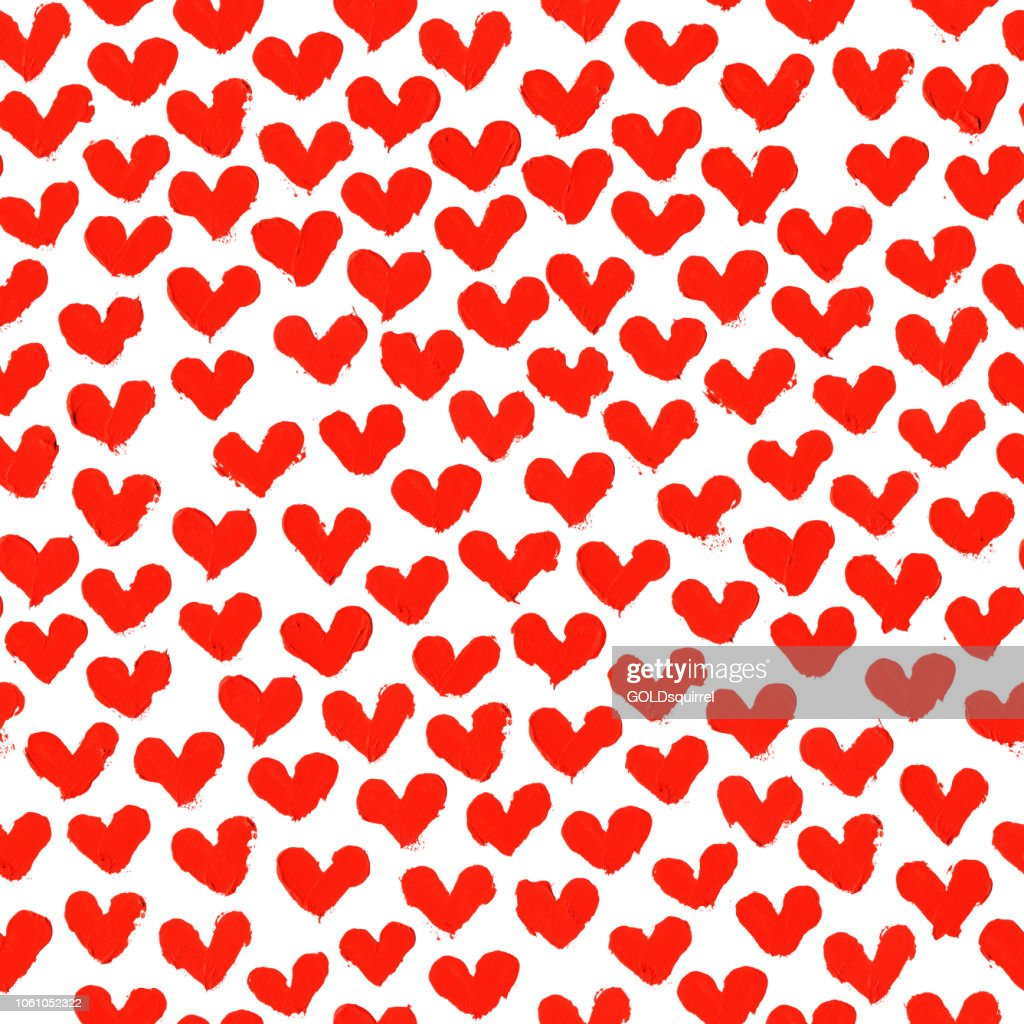 Seamless Pattern Of Abstract Uneven Red Hearts Made By Applying A